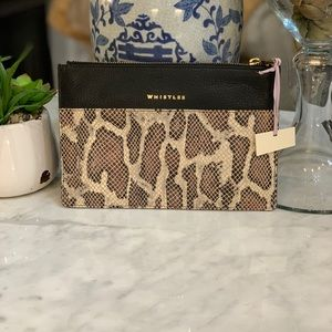 NWT WHISTLES SNAKESKIN EMBOSSED CLUTCH